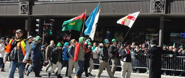 Scouts Parade in the Montreal St. Patrick day Parade March 11, 2016